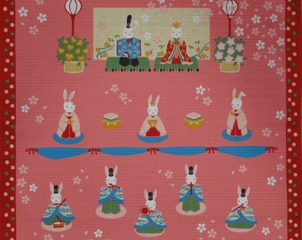 Kawaii Fabric Furoshiki 'Girls' Day Rabbit Hina Matsuri Doll' Cotton Japanese Fabric Square Quilting Fabric 50cm w/Free Insured Shipping