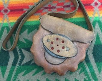 70's handmade leather shoulder bag kids vintage