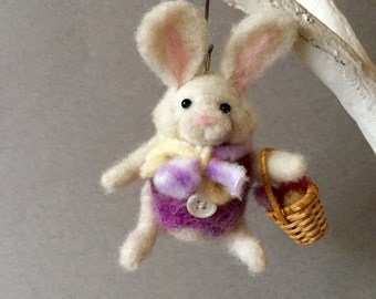 Needle felted Easter bunny rabbit ornament, handmade animal collectible, wool soft sculpture , needle felted animal, Easter decoration