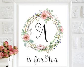 A letter art, Custom Name signs for Nursery, Ava name print, floral nursery decor, Nursery printable, girl room Decor, floral wreath nursery