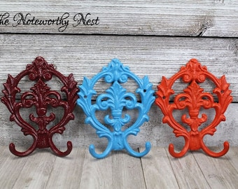 ANY COLORS Fleur De Lis hook / cast iron hook /  coat hook / towel hook / cast iron fleur de lis // key hook / coat / cast iron hook