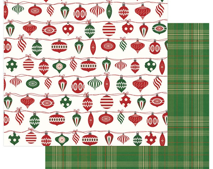 2 Sheets of Photo Play Paper MAD 4 PLAID CHRISTMAS 12x12 Scrapbook Cardstock - Trim the Tree
