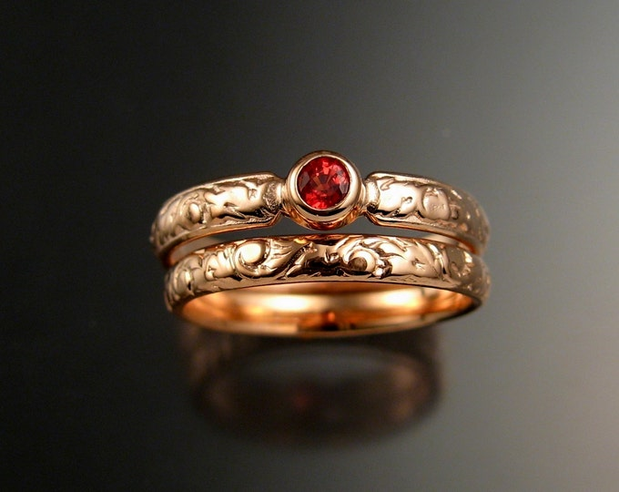 Sapphire Wedding set 14k Rose Gold Victorian bezel set Natural Orange Padparadscha ring made to order in your size