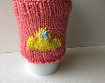 Tiara knit coffee cup cozy - reusable knitted mug cozy