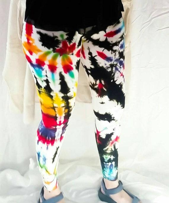 Tie Dye Leggings/Hand Dyed/Womens Tie Dye/Rainbow & Black/Eco-Friendly Dying