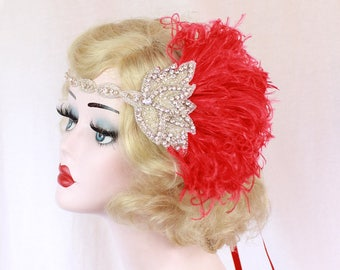 Red Feather Headband, 1920's Flapper, Great Gatsby Headpiece, Crystal Headband, Feather Fascinator