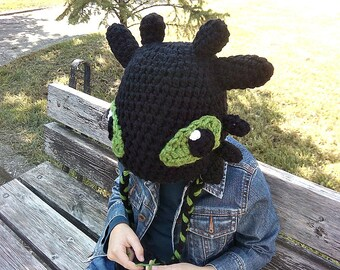 Toothless hat, How to Train your Dragon, halloween hat, Toothless crochet hat,  night fury hat, winter hat, handmade crochet hat, boys hats