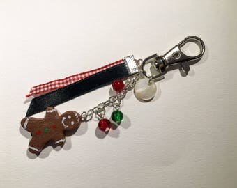 Keyring or bag charm snowman gingerbread, Crackle glass beads and ribbons in polymer clay