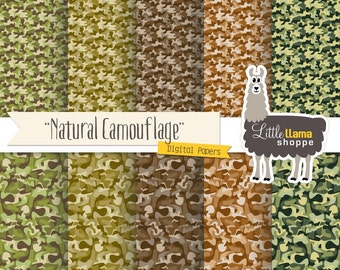 Camouflage Digital Paper, Camo Scrapbook Paper Patterns, Camouflage Patterned Paper, Commercial Use, INSTANT DOWNLOAD