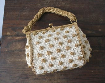 vintage 1950s purse / 50s gold and cream evening bag / gold lurex bag / gold knit handbag / gold polka dot purse