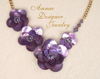 Purple mussel shell flower and crystal necklace & earring jewelry set