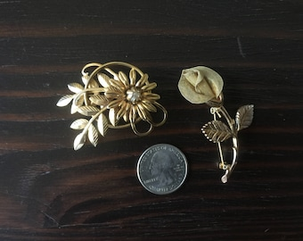 Vintage Gold Tone Flower Brooches, 1980s Anne Klein Gold Tone Mesh Rose Flower Pin, Set of 2, Retro, Mod, Free US Shipping