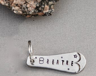 BREATHE keychain. Stamped Spoon Handle Key Chain Ring. 2 inch keychain. New Driver Gift. Teenager Gift. Silver Key Ring. Ohm Yoga meditation