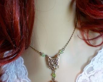 Vintage Inspired Necklace Green Czech Glass  Crystal Oxidized Brass Peridot Green Jewelry