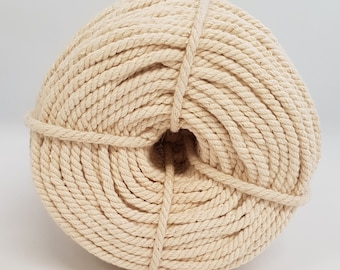 Budget 4mm Macrame Cotton Rope, Minimum of 140m or 950g, Thick Strong Natural Undyed Cream Colour Piping Cord String, Cheap! Beginners