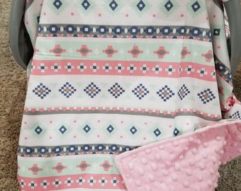 Carseat Tent - Aztec Carseat Canopy, Tent -Ready to Ship, Pink, Mint, Gray, Western