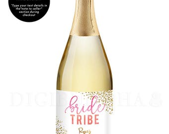 Bridal Party Gift CHAMPAGNE LABEL Bride Tribe Bachelorette Party Bride Tribe Party Gift Bachelorette Gift Bridesmaid Gift Bridesmaid - Rosie