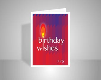 Personalised name happy birthday wishes card for her him friend, Edit name birthday card contemporary red candles typography edit message