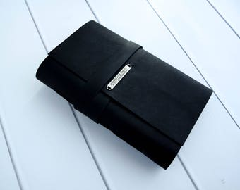 Travel Journal - Personalized Large Black Journal - Handmade Writing Bound Book - Diary - Custom Art Journal - Leather Notebook