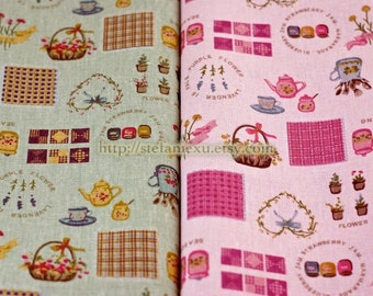 Japanese Linen Cotton Blended Fabric-Sweet Country Style Kitchen Zakka  (Fat Quarter)