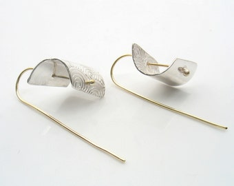 Inverted spiral print on sterling silver soldered on gold wire, sophisticated simplicity, modern and chic, lightweight.