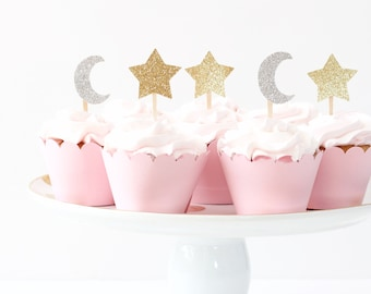 Gold Glitter Star Silver Glitter Moon Cupcake Toppers Twinkle Little Star Party First Birthday Cupcake Toppers  Gold Glitter Party Supplies