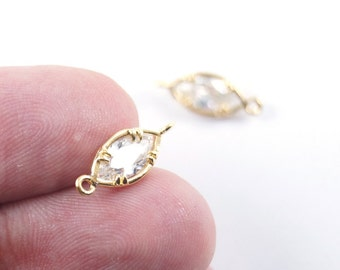 1pc- Matte Gold Plated White Crystal, Rhinestone Connector-18x8mm (020-022GP)
