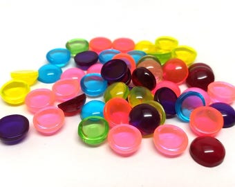 50 pcs Resin Embellishment Cabochons Assortment - 12mm (1/2 in) - Mix of Clear Transparent Colors!