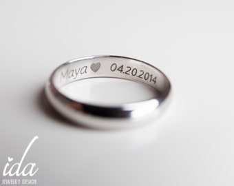 Engraved Mens Ring - Wedding Band Mens - Silver Wedding Band Men - Engraved Wedding Bands for Men - Mens Wedding Band - Wedding Ring Men