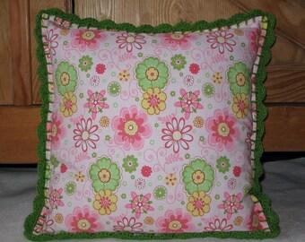 Coussin coton & crochet - Rose / vert