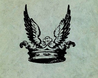 Crown with Wings - Antique Style Clear Stamp