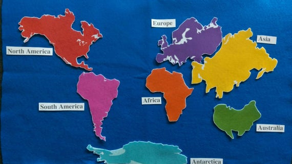 Continents felt board set flannel board history continents felt board set flannel board history geography map globe world gumiabroncs Images