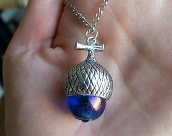 Blue acorn long necklace
