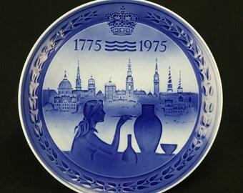 Vintage Royal Copenhagen Bicentenary Collectors Plate, 1775-1975, 200 ARS Jubilaeum