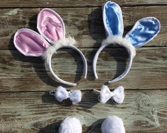 PHOTO PROP BUNNY Ears Baby Girl/Baby Boy  Bunny Ears-Tie-Tail Set