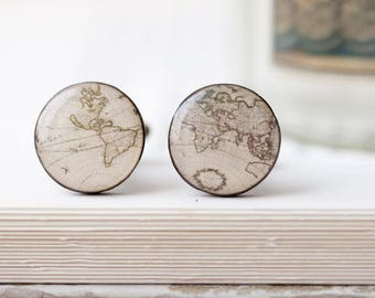 World map cufflinks, Fathers day gift, Cuff links for groom, Traveler cufflinks, Travel gift for him Vintage map cufflinks, Groomsmen gift