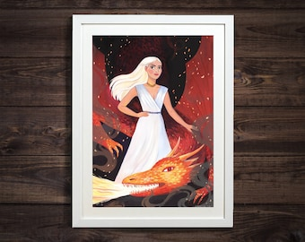 Mother of Dragons Illustrated Print Inspired By Game Of Thrones by Emmeline Pidgen Illustration