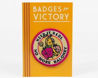 No More Baloney embroidered badge