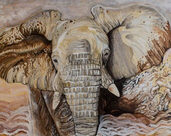 Elephant print- Print of Original painting, Acrylic on Canvas