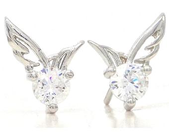 Angel wings stud earrings, Silver stud angel wings, Clear gemstone with real silver wings, Stud angel gem wings, Small cute wings, Gift box