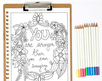 Adult Coloring, Stronger than you can think, Printable, Coloring pages for Adults, Mindfulness, Inspirational quote, Quote 4