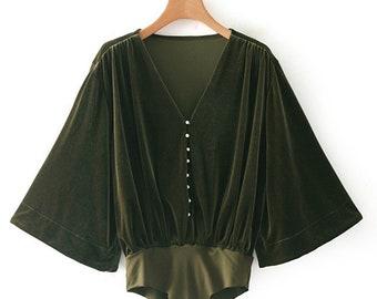 Shirley Embellished Green Velvet Body Suit (Velvet Body Suit, Women Body Suit, One Piece Body Suit, Green Suit, velvet blouse)