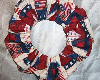 Patriotic Hair Scrunchie, Fabric Hair Tie, Boutique Ponytail Holder, Colonial Americana