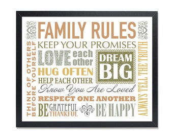 Family rules sign, Horizontal art print, house rules, family rules wall poster printable Love your family Christian quotes, Cute family gift