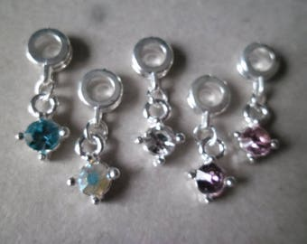 x 5 mixed pendant/charm with Rhinestone bail on silver plated 25 x 10mm