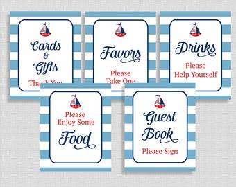 Nautical Baby Shower Table Signs Package, 5 Sign Bundle, Little Sailor, Red, White and Blue, INSTANT PRINTABLE