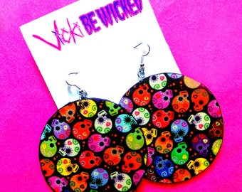 Wood Dangle Earrings, Dia De Los Muertos Inspired, Skull Earrings, 2.5 Inches