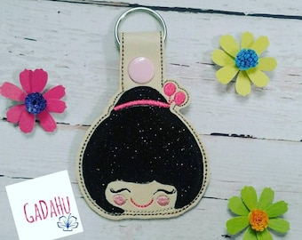 Cute Kokeshi Doll Face Fob Snap Tab Embroidery Design 4X4 size