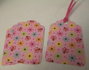 6 Pink Ladybug Themed Handmade Gift Tags