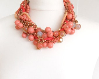 Chunky Orange and Coral Coloured Beaded Twist Statement Necklace